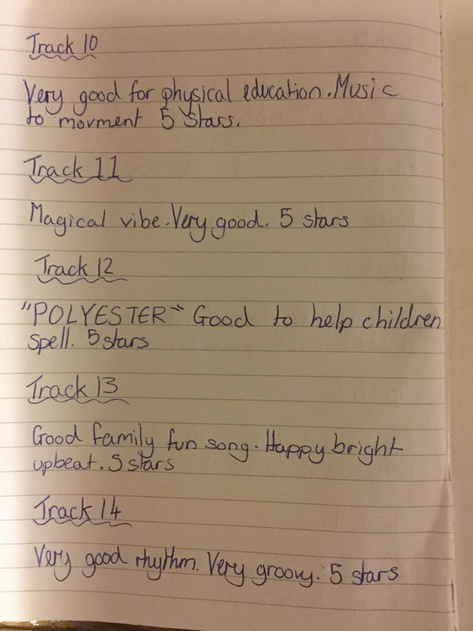 Song ratings by Amy Hendley page 3